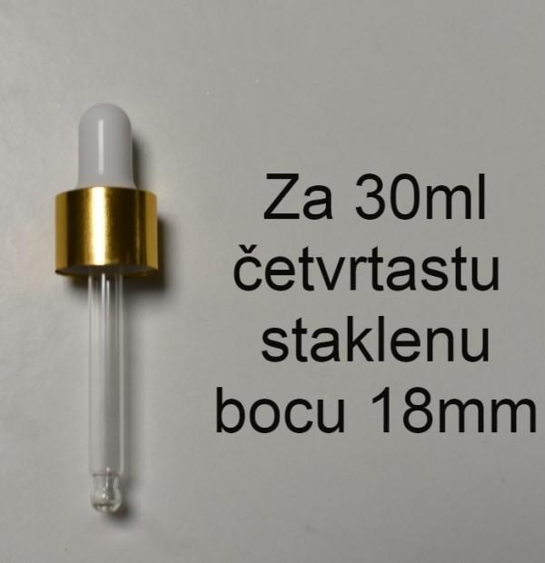GOLD BELA STAKLENA PIPETA ZA ČETVRTASTU STAKLENU BOCU 30ML 18mm NAVOJ