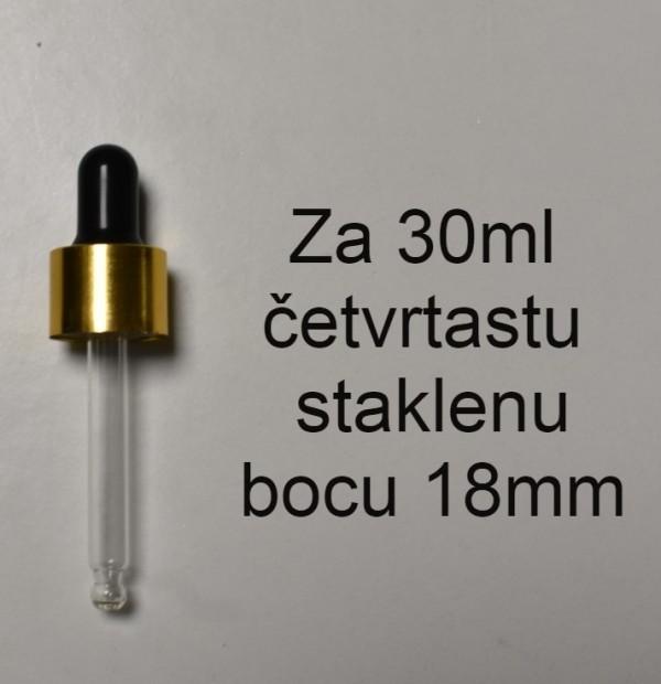 GOLD CRNA STAKLENA PIPETA ZA ČETVRTASTU STAKLENU BOCU 30ML 18mm NAVOJ