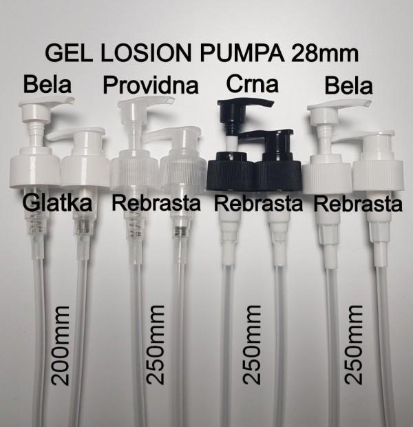GEL LOSION PUMPA 28mm NAVOJ BELA, PROVIDNA, CRNA